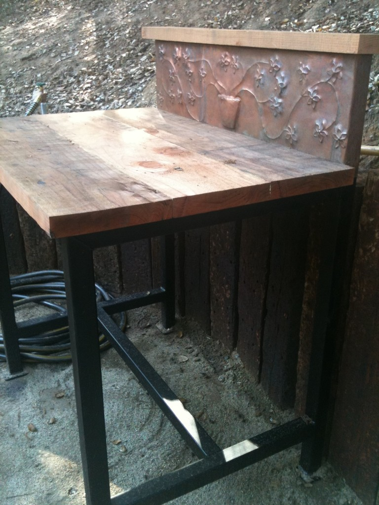 Hand made custom potting table.